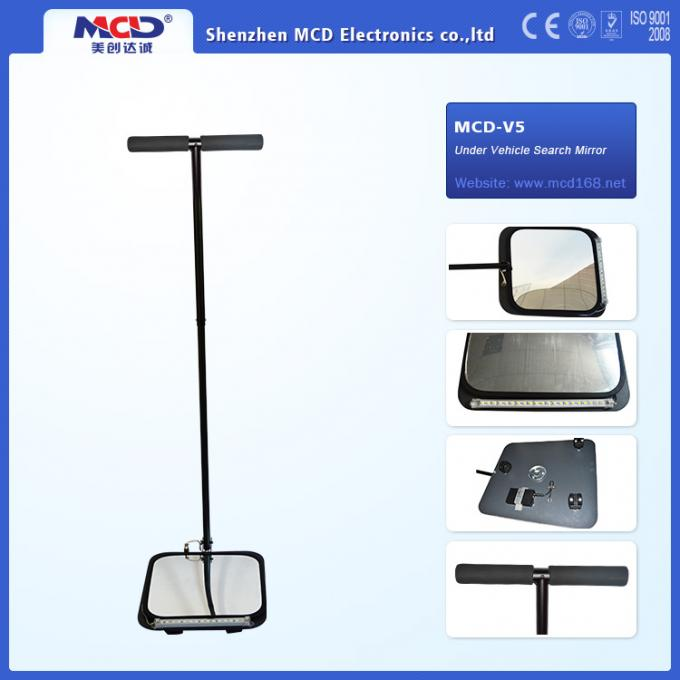 9 led light Vehicle Inspection Mirror with three wheel and 140cm Rod 30cm Convex mirror